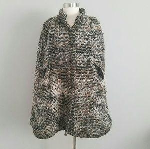 Zara Knitwear Tweed Cape Poncho M